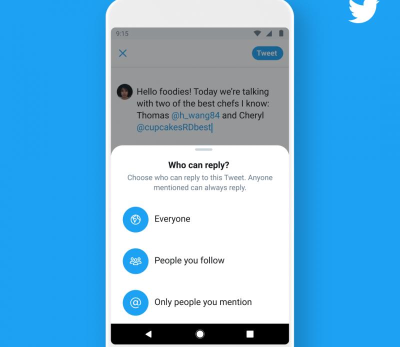 Twitter позволит ограничивать ответы на твиты
